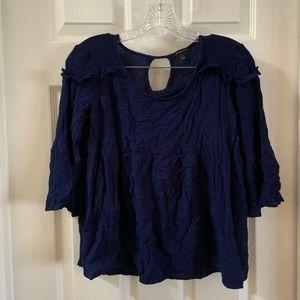 Signature Studio Navy Blue 3/4 Bell sleeve blouse